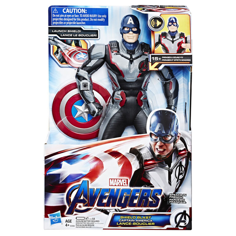 Marvel Avengers : Phase finale - Figurine Captain America Lance-bouclier de 33 cm.