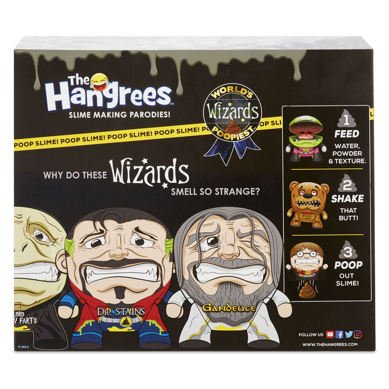 Les figurines Parodie The Hangrees World's Poopiest Wizards à collectionner, paquet de 3 avec gelée