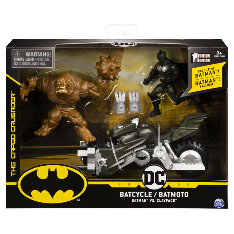 BATMAN, Batcycle Vehicle with Exclusive BATMAN and CLAYFACE 4-Inch Action Figures