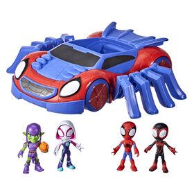 Marvel Spidey and His Amazing Friends, Arachno-bolide avec figurines, véhicule avec 4 figurines  - Notre exclusivité