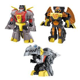 Transformers Dinobot Adventures Dinobot Squad Grimlock, Dinobot Snarl, and Predaking