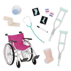 Heals On Wheels, Our Generation, Fauteuil roulant et accessoires médicaux pour poupées de 18po