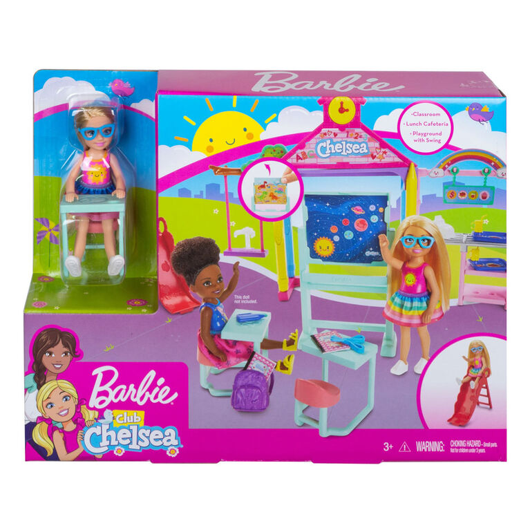 Barbie Club Chelsea Doll and School Playset, 6-inch Blonde, with Accessories