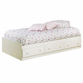 Summer Breeze Bed with Storage - Mates Bed with 3 Drawers - White Wash