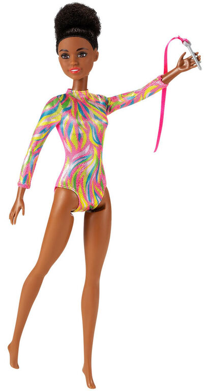 Barbie Rhythmic Gymnast Brunette Doll (12-in/30.40-cm), Leotard & Accessories