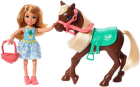 Barbie Club Chelsea and Horse doll, Dressed in an Outfit and Accessories