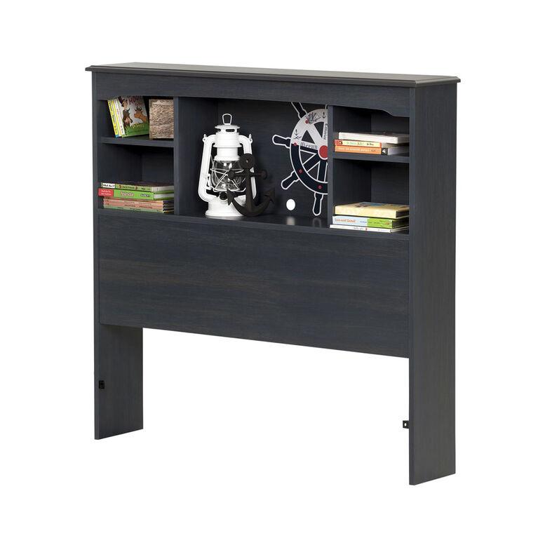 Aviron Bookcase Headboard with Storage- Blueberry