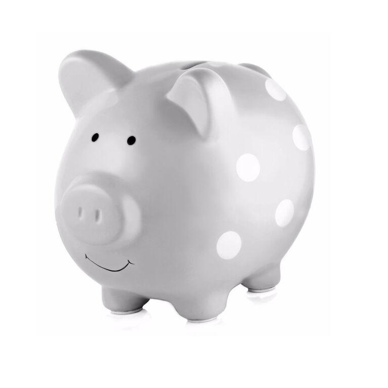 Pearhead Ceramic Piggy Bank - Polka Dot Grey
