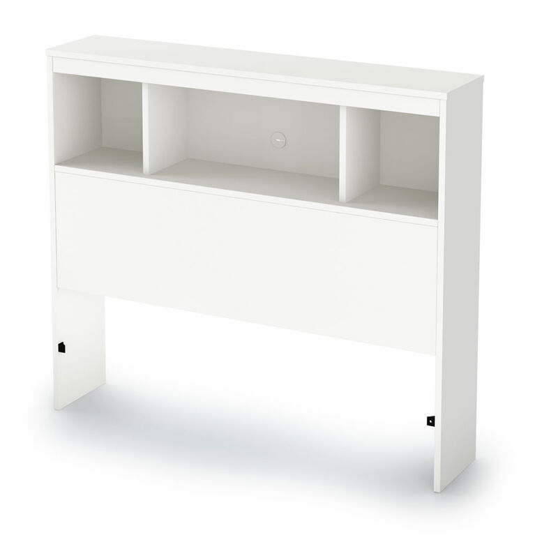 Spark Bookcase Headboard with Storage- Pure White