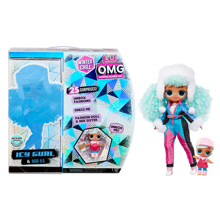 L.O.L. Surprise! O.M.G. Winter Chill Icy Gurl Fashion Doll & Brrr B.B. Doll with 25 Surprises
