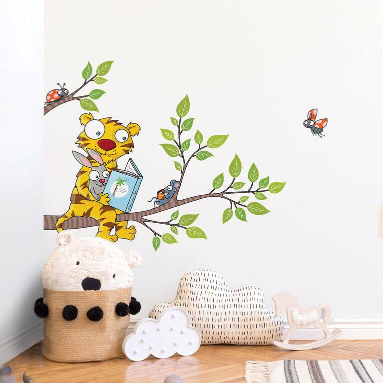 Wall Stories Stickers muraux pour enfants - Découvrez la lecture - Stickers muraux interactifs animaux pour chambre d'enfant - Grand autocollant mural avec application de jeu et d'activité gratuite