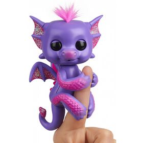 Fingerlings - Glitter Dragon - Kaylin (Purple with Pink) - Interactive Baby Collectible Pet