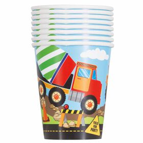 Construction Party 9oz Paper Cups, 8 pieces - English Edition