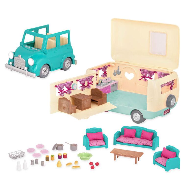 Happy Camper, Li'l Woodzeez, Caravane bleue avec accessoires