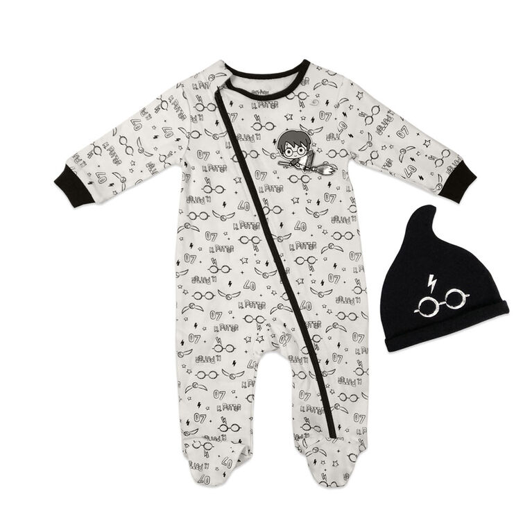 Harry Potter Sleeper with hat - Black, 9 Months.