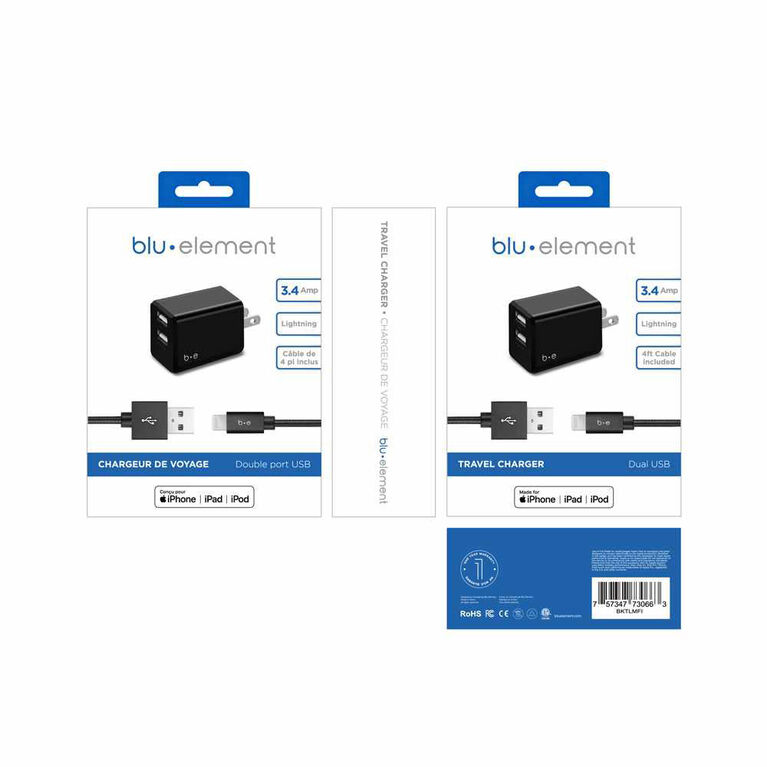 Blu Element Wall Charger Dual USB 3.4A w/Lightning Cable Black