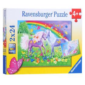 Ravensburger - Chevaux et papillons multicolores casse-têtes 2 x 24pc