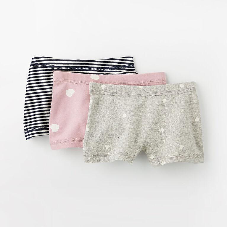 pretty cotton boxer briefs, 3-4y - grey mix