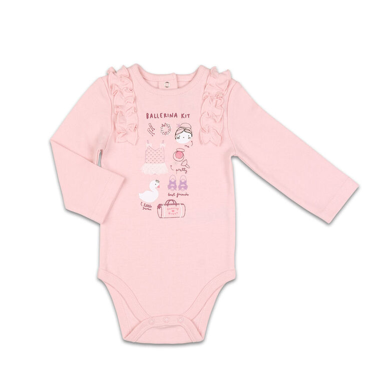 The Peanutshell Baby Girl Layette Mix & Match Ballerina Kit Ruffle Shoulder Bodysuit - 6-9 Months