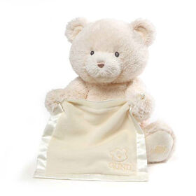 Baby GUND Peek-A-Boo My 1st Teddy Cream Bear Animated Plush Stuffed Animal, 11.5 Inch - English Edition