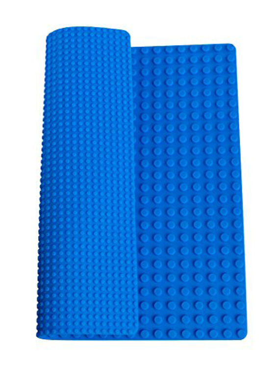 """Strictly Briks - Double Sided Silicone Mat - 15"""" x 15"""" - Compatible with Large and Small Pegs - Blue"""