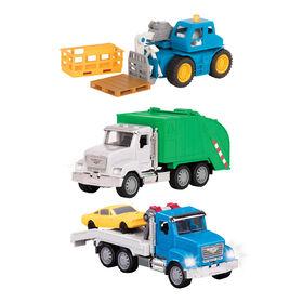 Driven, Micro Urban Worker Fleet (6pc), Small Toy City Vehicle Set