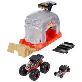 Hot Wheels - Monster Trucks - Coffret de jeu Puits et lancement - Bone Shaker