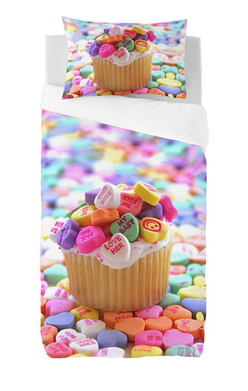 Gouchee Design - Cupcake Digital Print Twin Duvet Cover Set