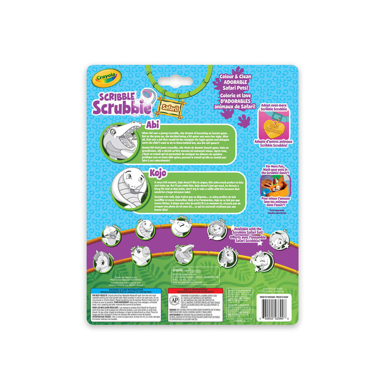 Crayola Scribble Scrubbie Safari Animals 2-Pack Crocodile & Cobra