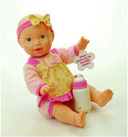 """Baby's First 14"""" Classic Talking Bottle Baby - Pink & Yellow"""