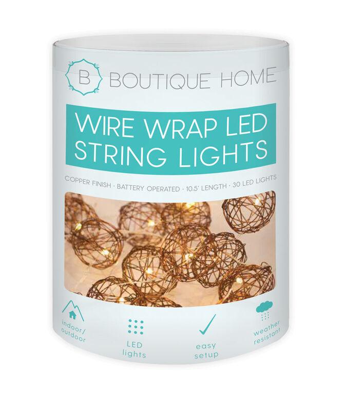 Corde de lumières DEL sous forme de câbles enroulés en cuivre de Boutique Home