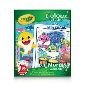 Coloriage et autocollants, Baby Shark