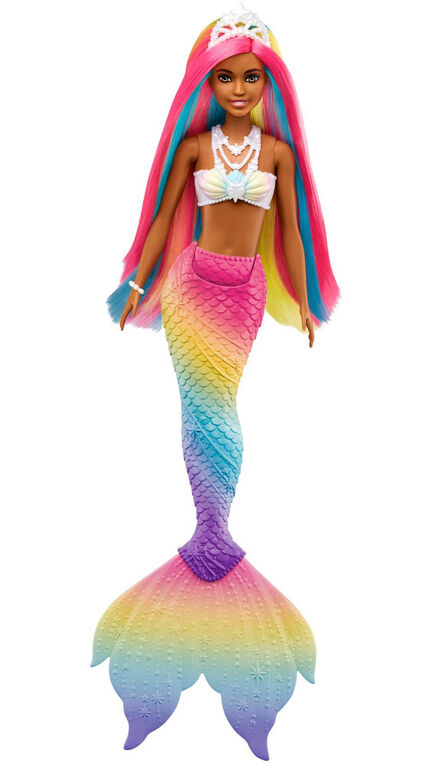 Barbie Dreamtopia Rainbow Magic Mermaid Doll with Rainbow Hair and Water-Activated Color Change Feature