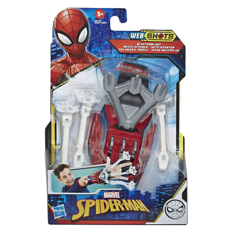 Marvel Spider-Man: Web Shots Gear Scatterblast Blaster Toy, Includes 3 Web Projectiles
