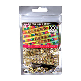 Fashion Angels - Tell Your Story Alphabet  Bead Bag - Gold Cubes