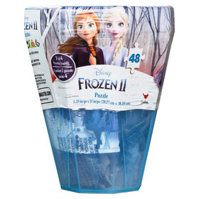 Disney Frozen II 48-Piece Surprise Puzzle in Plastic Gem-Shaped Storage Case