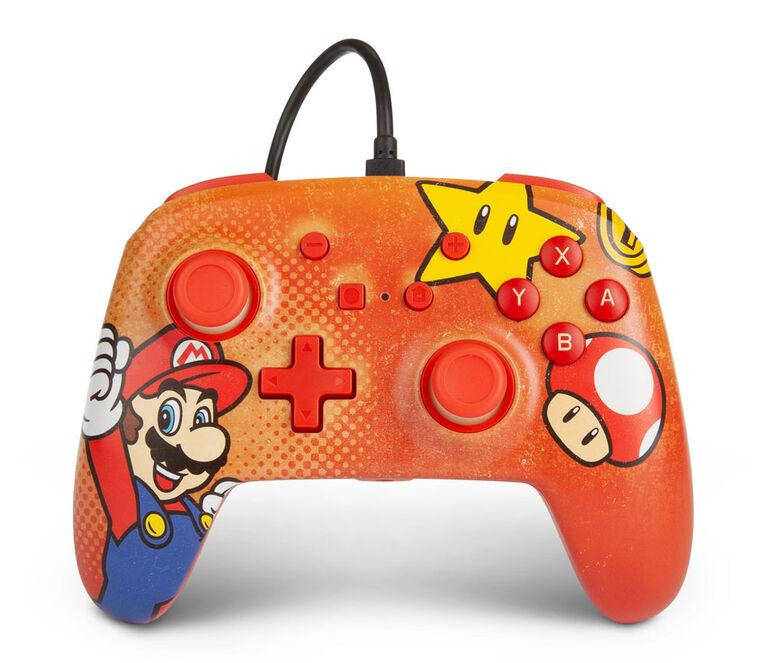 Contrôleur Filaire Amélioré Pour Interrupteur Nintendo - Mario Vintage