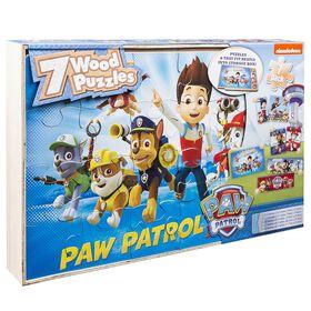 Paw Patrol 7 Wood Jigsaw Puzzles in Wood Storage Box
