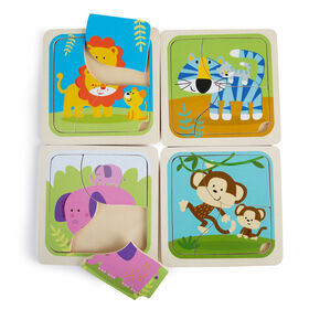 Imaginarium Discovery - Wooden Baby Animal Puzzle Assortment - Wild Animal Parent & Baby