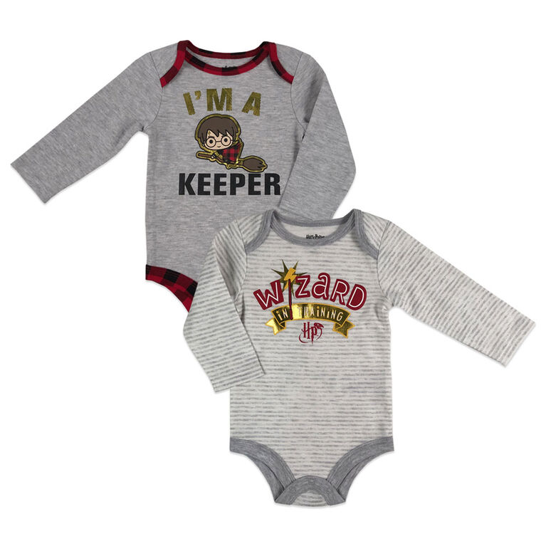 Harry Potter 2 Pack Bodysuits - Grey, 12 Months.