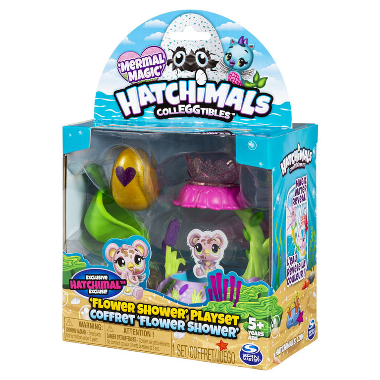 Hatchimals CollEGGtibles, Flower Shower Playset with Exclusive Mermal Magic Hatchimals CollEGGtible