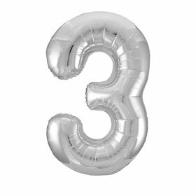 Silver Number 3 Shaped Foil Balloon 34""