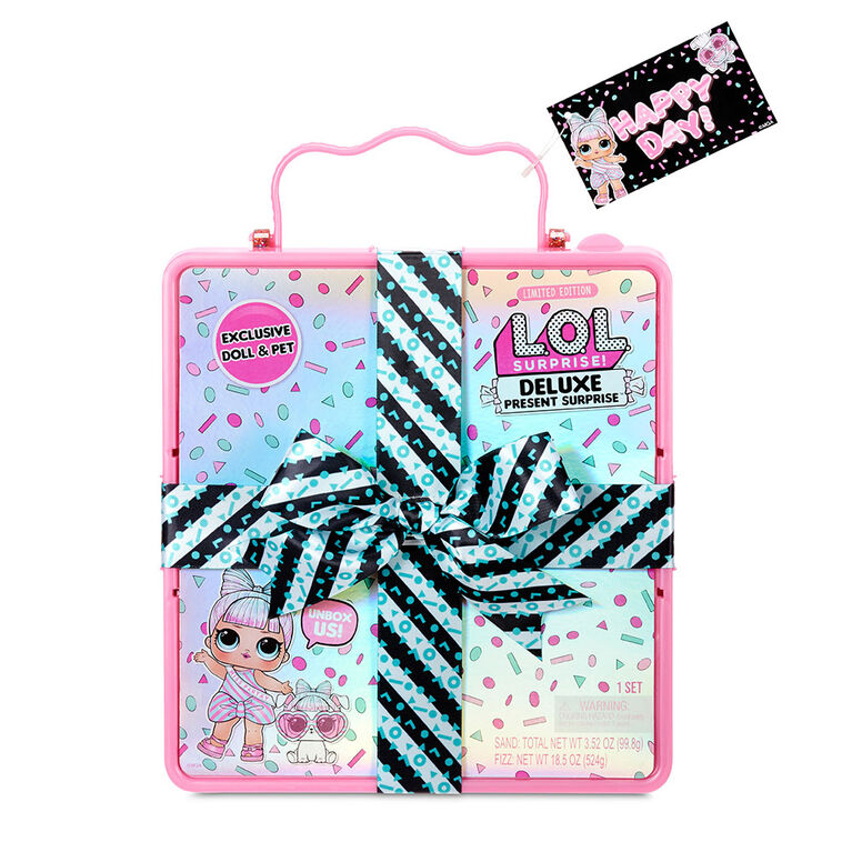 L.O.L. Surprise Deluxe Present Surprise with Miss Partay Doll and Pet