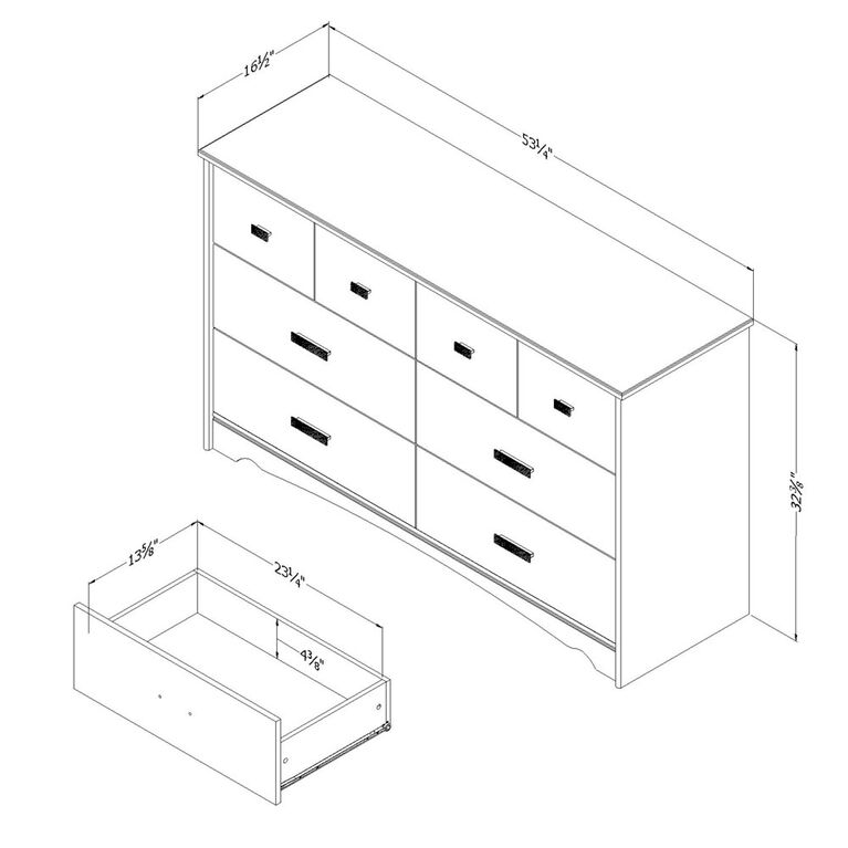 Tiara 6-Drawer Double Dresser- Pure White