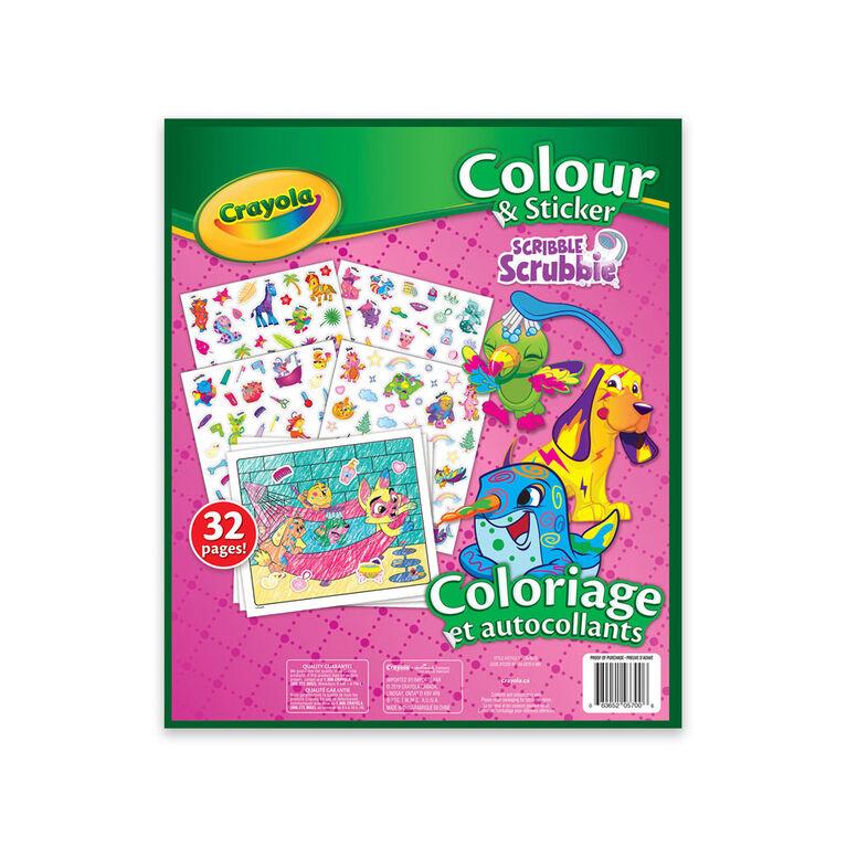 Cahier à colorier avec autocollants Crayola Animaux Scribble Srubbie