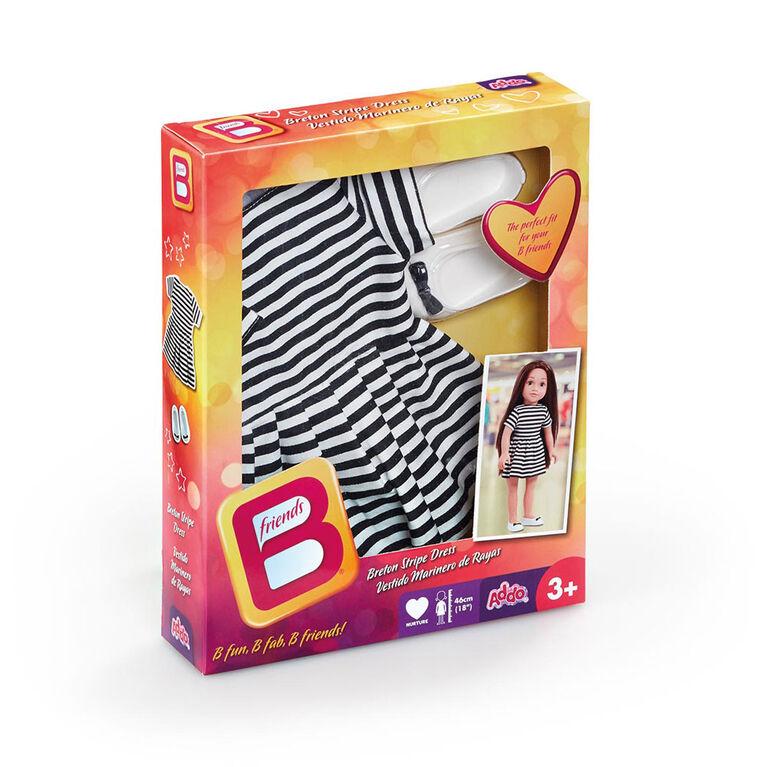 B Friends  - Robe bretonne à rayures à la mode pour poupée de 46 cm - Notre exclusivité