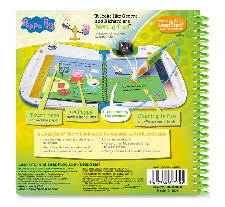 LeapFrog LeapStart 3D Peppa Pig Playing Together Livre d'histoires - Édition anglaise