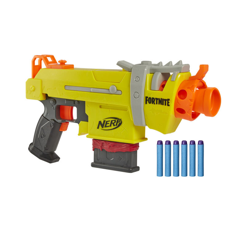 Nerf Fortnite SMG-L Motorized Dart Blaster - Includes 3 Targets - Comes with 6-Dart Clip and 6 Official Nerf Elite Darts - R Exclusive