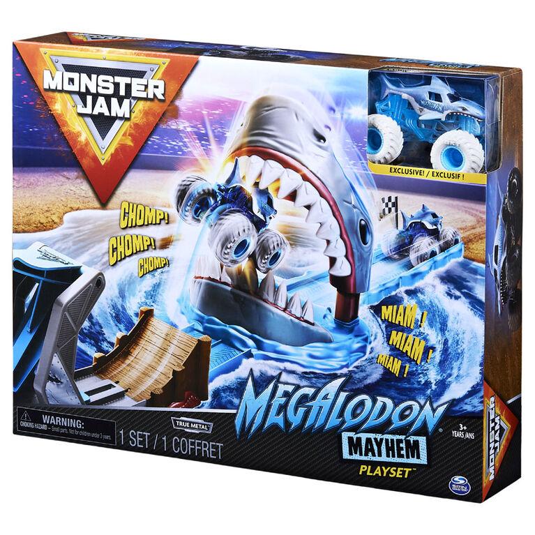 Monster Jam, Coffret Megalodon Mayhem officiel avec monster truck Megalodon exclusif en métal moulé à l'échelle 1:64
