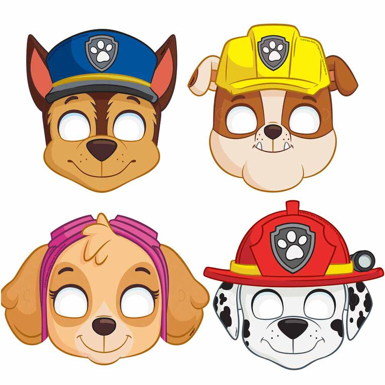Paw Patrol Party Masks, 8 pieces
